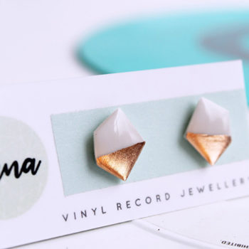 white and copper earrings