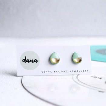 mint and silver stud earrings